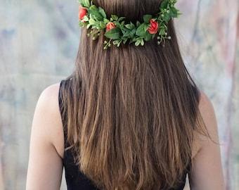Flower crown, floral headpiece, bridal flower crown, flower girl crown, bridal headpiece, greenery crown