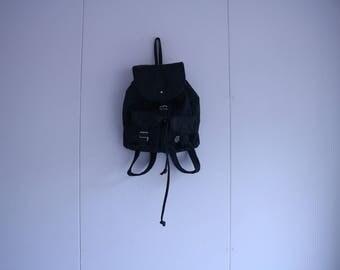 Vintage Black Leather Backpack for Woman