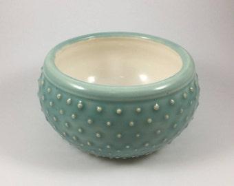 Aqua and White Ceramic Bowl