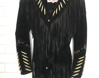 Vintage Suede Fringe Jacket in Black with navaho details. XS-S