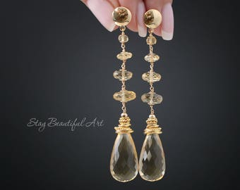 Yellow Quartz Earrings Gemstone Earrings Yellow Earrings Gold Earrings Long Earrings Dainty Earrings Drop Earrings