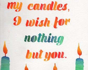 Watercolor Candle Original Poem Print 9 in x 12 in