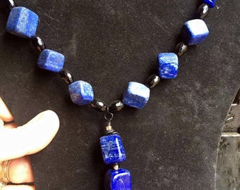 Bespoke Lapis Lazuli and agate necklace on a black chain. Handmade. Crystal healing.