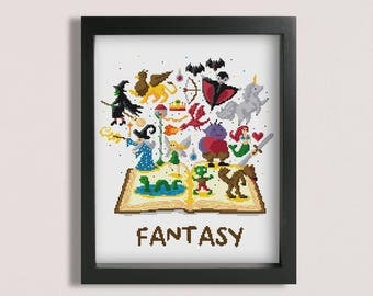 Fantasy Book cross stitch pattern / Printable PDF Pattern / Unicorn cross stitch / Vampire cross stitch cross stitch / Fantasy cross stitch