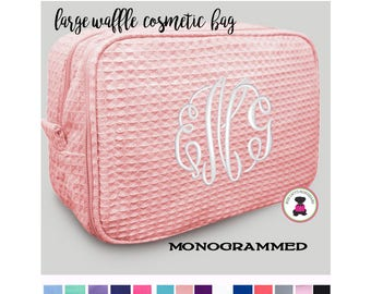 Monogrammed  Deluxe 2 Part Large Waffle Cosmetic Case - FREE SHIP