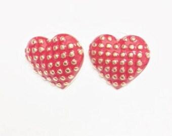Heart shaped red & gold stud earrings