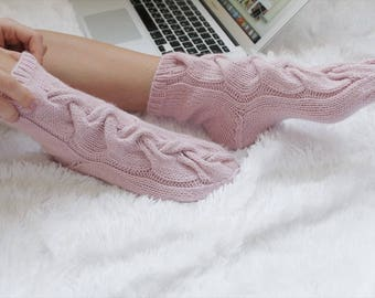 Valentines Day Gift, Gift for Girlfriend, Pink Socks, Warm Socks for Her Wool Socks Cable Knitted Socks Wool Knitted Socks Alpaca Wool Socks