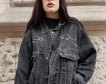 Vintage black jeans jacket Cod. 2-06