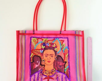 Mexican Market Bag Purse Frida Kahlo Mercado Bag Mexican Handmade Mesh Reusable Shopping Bag Sequin Beads Frida Kahlo bag 14X17""
