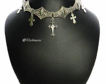 Necklace, Crew Neck, Choker, Gothic Cross, Pendant, Goth, Gothic, Victorian, Vampire