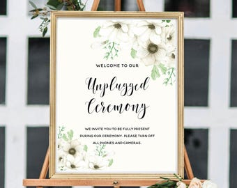 Unplugged Ceremony Sign, Unplugged Wedding Sign, Printable Wedding Sign, Floral Watercolor, Watercolor Anemone #A001