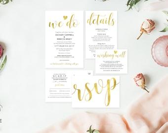 Gold wedding stationery, Editable pdf, Instant download, Printable wedding stationery, Editable wedding invitation, Wedding rsvp postcard