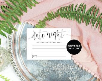 Date night cards printable, Date night idea cards, Date night card template, Wedding date night cards, Date night suggestion template