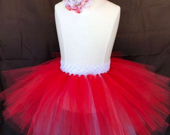 RedWhiteTutuHeadbandSet/toddlertutu/babytutu/girls red outfit/fourthofjulyoutfit/girlssummeroutfit/shabbychicheadband/redchiffonflower