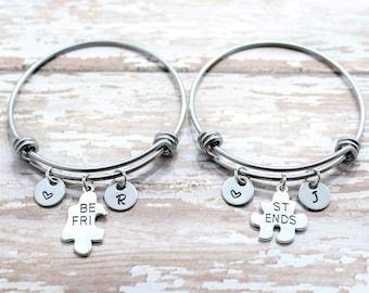 Best Friend Matching Bracelets - Best Friend Bracelets For 2 - Puzzle Piece Bangle Bracelets - Best Friends Forever - Personalized