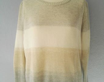 90s sweater true vintage M/L oversize gray white beige round collar blogger sporty striped summer spring