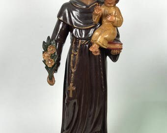 Carved Wood Religious Saint Anthony Antique Finished Santos