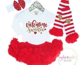 Valentine's Day Outfit, Valentine Sweetie, 1st Valentine's Day Girl, Girls Valentine's Day Shirt, 1st Valentine's Day Outfit