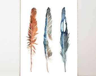 Feather Print, Watercolor Print, Feather Wall Art, Large Feather Print, Large Wall Art, Boho Decor, Feather Decor, Rustic, Set of Feathers