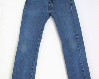 90s Levis 501 / 28 / 4 / Button Fly /  Shrink to Fit / Straight Leg Jeans / 28 x 30