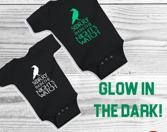 GLOW In The Dark Game of Thrones Bodysuit or T-Shirt Boy Toddler Fun Tee - I'm in the Night's Watch Jon Snow Stark