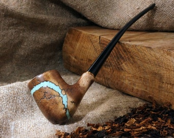 """Tobacco pipe """"Lightning"""" with Turquoise -Tobacco smoking pipe-Exclusive Wood Pipe -Smoking bowl - Wood carved smoking pipes- Christmas gift"""