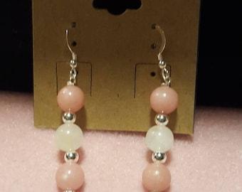 Rose Quartz White Jade Silver Earrings