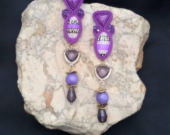soutache earrings purple, soutache, soutache jewelry, soutache jewels, handmade earrings, soutache embroidery, embroidered earrings