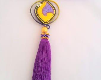 soutache pendant yellow purple, soutache, soutache jewelry, soutache jewels, soutache necklace, handmade necklace, embroidered necklace