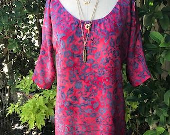 peasant dress/boho peasant dress/FAB 208 NYC/batik peasant dress/indonesian boho fabrics/vintage boho dress