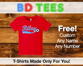 salesale Soccer Girl Birthday Shirt Personalized Custom Age Name Soccer Party little girl sports.