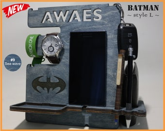 Mens birthday gift, Gift for Men, Personalized Docking Station, Gift for Him, Gift for Husband, Gift for Dad, Iphone Dock, Batman Gift Idea