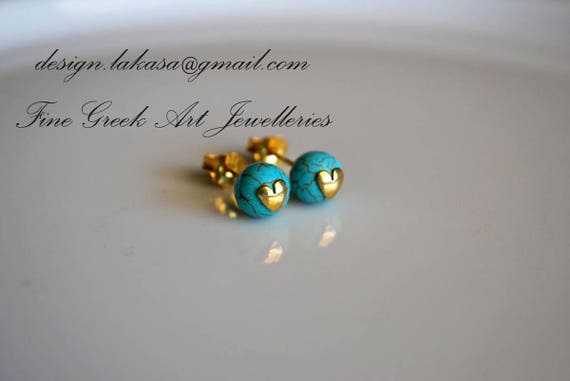 Heart Stud Earrings with Turquoise Beads Sterling Silver 925 Gold plated Jewelry Lakasa eshop summer look moda funny sea prety girl fashion
