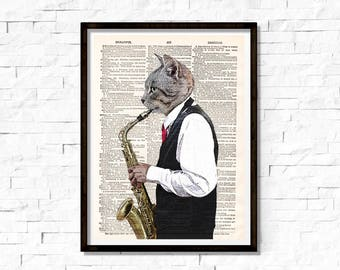 Musical cat Print ,Cat play saxophone Print, Music, Cat Art Print, Cat wall art, vintage dictionary page book art print.