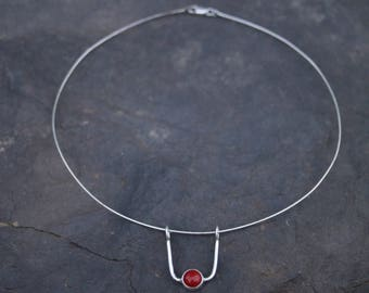 Red Coral Cabochon suspended on Silver Choker