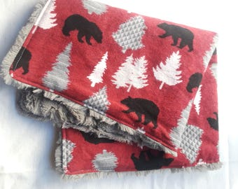 Woodland Bears & Pine Tree Lovey Security Blanket, Bear Lovey, Faux Fur Lovey, Bear Blanket, Woodland Baby Blanket, Minky Blanket, Forest