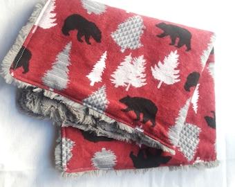 Woodland Bears & Pine Tree Lovey Security Blanket, Bear Lovey, Faux Fur Lovey, Bear Blanket, Woodland Baby Blanket, Minky Blanket, Forest