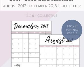 2017-2018 Calendar, Calendar Printable, 2017-2018 Printable Calendar, Yearly Calendar, Calendar PDF, Printable Calendar, Desk Calendar, Pink