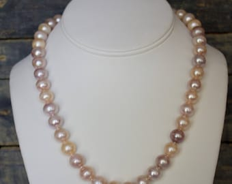 10 mm Round Fresh Water, Peach Color Pearl Necklace with 14k Whit Gold Clasp