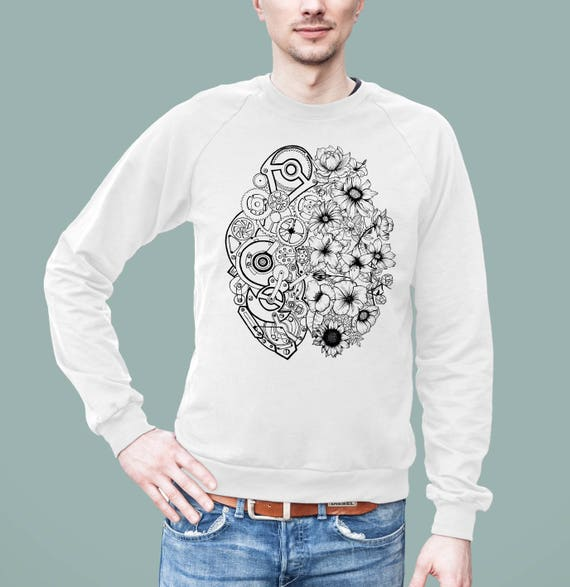 Left Brain Right Brain | American Apparel Unisex California Fleece Raglan | Graphic Sweatshirt | Pen and Ink art| Tattoo Style | ZuskaArt