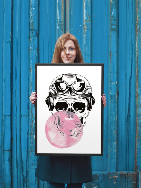 Aviator Sugar Skull with bubble gum balloon | Printable Poster | Wall art decor | Ink and watercolor painting | ZuskaArt