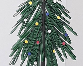 Quilling Christmas Tree Ornament or package hanger. Includes free packaging.