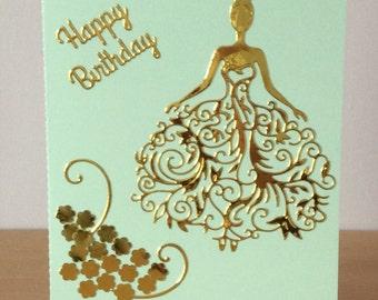 Handmade Birthday Card, handmade greetings card, female birthday card, Happy birthday, fashion