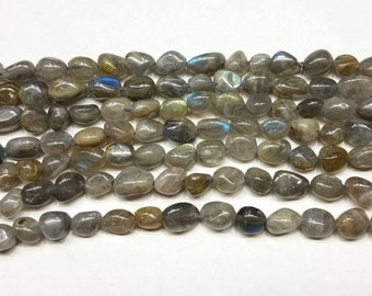 "AA Labradorite Large Pebbles approx 8-10mm 15.5"""