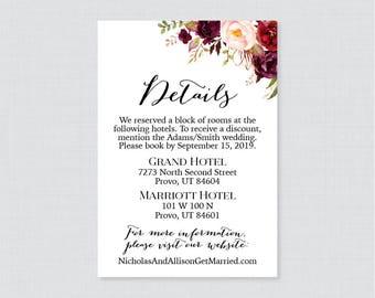 Printable OR Printed Wedding Details Cards - Marsala Floral Details Inserts - Rustic Pink Wine Flower Wedding Details Invitation Insert 0006
