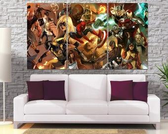 Avengers Wall Art, Large Avengers Canvas, Avengers Civil War Poster, Marvel Wall Decor, Marvel Kids Wall Art, Marvel Civil War Art LC103