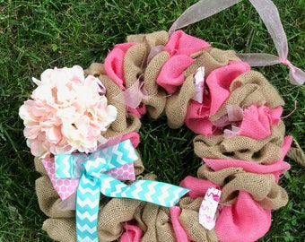 Burlap Hydrangea Spring Wreath