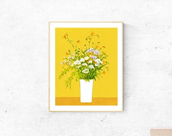Floral art,downloadable,still life print download,printable wall art print,fine art poster printable,instant digital download,green yellow