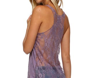 Women's Purple Lace Tank Top, Racerback, Contrast, Lavender, Size S M L XL - Made in USA