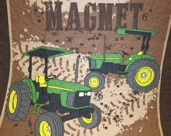 Dirt Magnet quilt, John Deere Quilt, Farm quilt, Tractor quilt, Tractor blanket, lap quilt, wall hanging, tractor bedding, toddler, boy gift